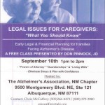 The Alzheimer's Association, NM Chapter hosts Free Class for Caregivers